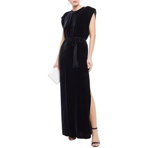 Nili Lotan belted Velvet Maxi Dress